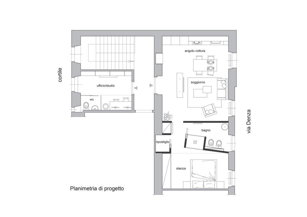 Planimetria di progetto, via Denza